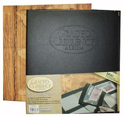 Album For Graded Certified US Currency Notes Bill 6 Ring PMG PCGS Leather Binder