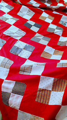 Antique Country FARMHOUSE Primitive PATCHWORK Quilt Top Vintage 30's 4-Patch