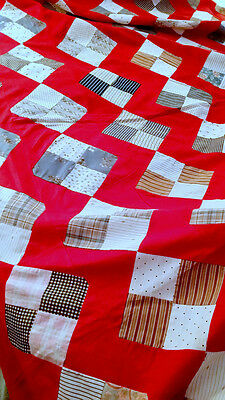 Old QUILT TOP Vintage 1930's RED w/ DIAMOND on POINT PATCHWORK  4-Patch Pattern