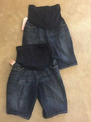 NWT Liz Lange 2 Pairs Maternity Blue Bermuda Jean Shorts Under Over Belly Size S