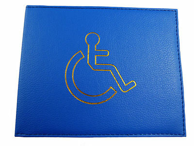 Disabled Blue Badge Holder Cover Protector Wallet PU Leather Parking Permit BLUE