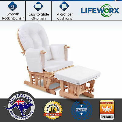 Wooden Rocking Chair & Ottoman Sliding Glider Baby Breast Feeding Nursery NEW