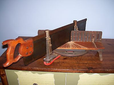"Vintage Stanley No.2358 Miter Box with 28"" Disston Saw.. Nice!"