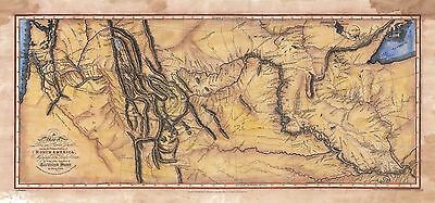 """""""Lewis and Clark Expedition Map 1804-06"""" Lisa Middleton Enhanced Historical Map"""