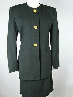 Amen Wardy Vintage 80S Black 100% Wool 2-Piece Jacket + Skirt Suit Large