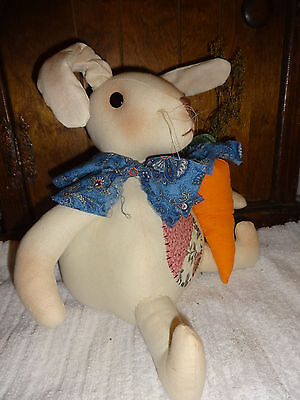 Handmade Large Bunny  Primitive.with Primitive painted carrot and sweet annie
