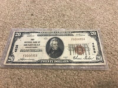 First National Bank Of Meadville Pennsylvania $20