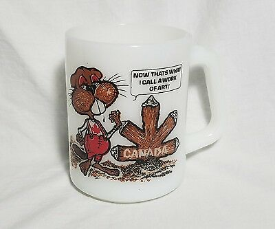 Vintage Federal Milk Glass Coffee Tea Cup Mug Beaver Canadian Maple Leaf 8 Ounce