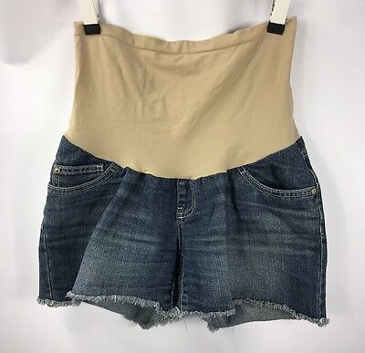 Indigo Blue Maternity Cutoff Denim Jean Shorts Full Panel size Medium