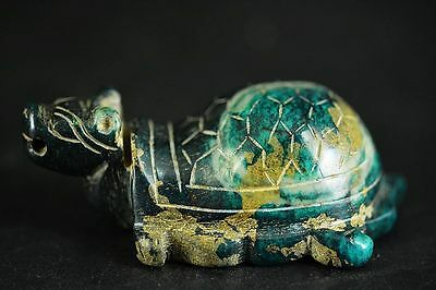 Unique Chinese green jade carved dragon turtle statue  JP218