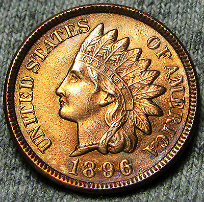1896 Indian Head Cent Penny --- GEM BU++ DETAILS --- #N092