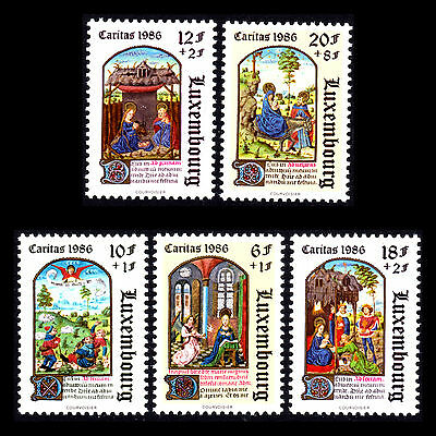 "Luxembourg 1986 - Book of Hours ""Caritas Issue"" Paintings Art - Sc B357/1 MNH"