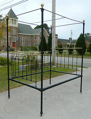 Amazing Victorian Day Bed~~Bed~~Iron and Brass Full Tester circa 1870