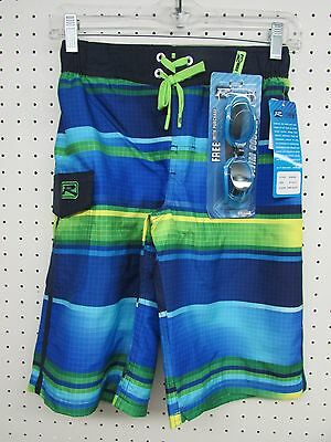 R-way Boy's Board Shorts Swim Trunks - Dark Blue Aqua Color - Size: MEDIUM 10-12