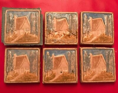 Lot Vintage California Art Tile Company Cottage Country Scene Glazed