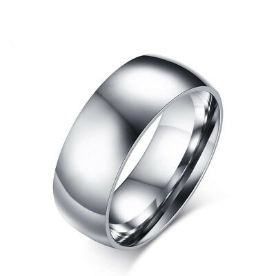 8mm Smooth 316L Stainless Steel Band Men Women's 18K Gold/Silver Ring Size 5-14