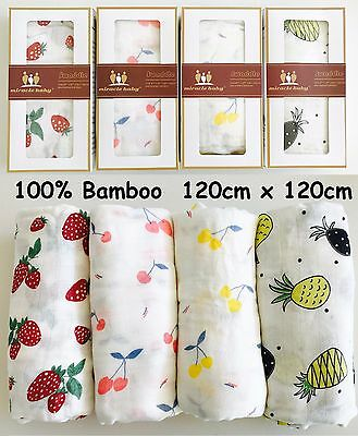 100% PURE BAMBOO Muslin Baby Swaddle BNIB LARGE SIZE 120cm x 120cm Wrap Bedding