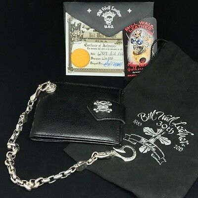 Bill Wall Leather BWL Black Leather Sterling Silver Wallet Chain Skulls