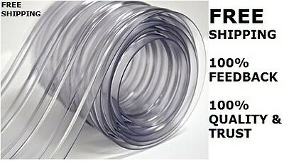 """150' Roll 8"""" Wide Ribbed PVC Plastic Strip Curtain for Walk In Coolers Warehouse"""
