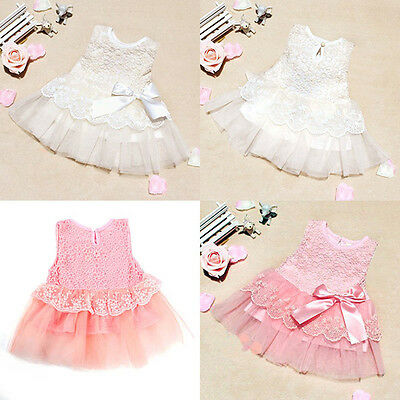 Kid Baby Girl Toddler Casual Party Princess Lace Pageant Tutu Dress Bow Flower
