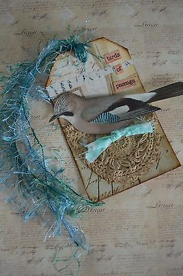 BIRDS OF PASSAGE - A Mixed Media One Of A Kind FaNtAsY Collage JOURNAL/ART Tag