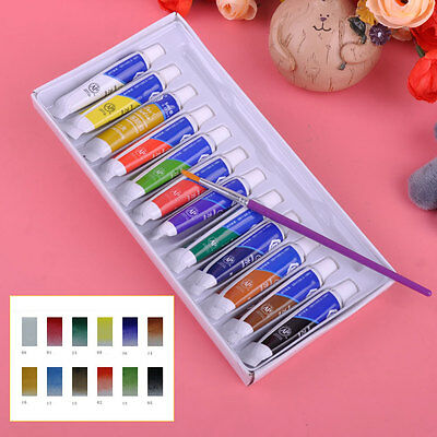 12 Color 5ml Painting Tube Watercolor w/ Paint Brush Set Artist Art Drawing Gift