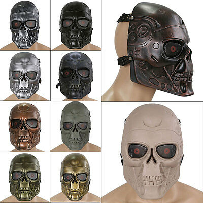 Tactical Paintball Full Face Protection Terminator Skull Mask Prop Halloween