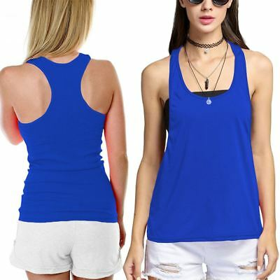 Womens Fitness Sports Racer Back Short Vest Top Ladies Gym Muscle Workout Tank