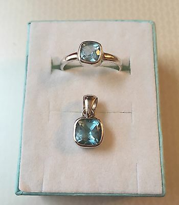 Reduced - Set Of Cushion Cut Blue Stone and 925 Silver Pendant and Ring Size P