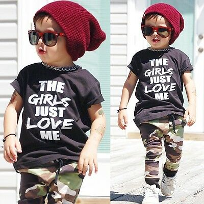 Cute 2PCS Toddler Kids Baby Boy T-shirt Tops+Camouflage Pants Outfits Set 0-4Y
