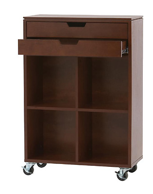 4-Cube Organization Storage Cart in Chestnut Brown Multi Purpose Office Craft
