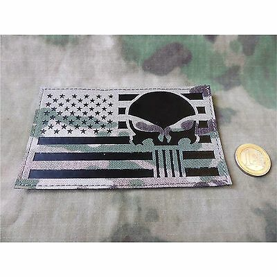 JTG Jumbo US Flag / Punisher - IR / Infrarot Patch - Lasercut, multicam, mit Kle