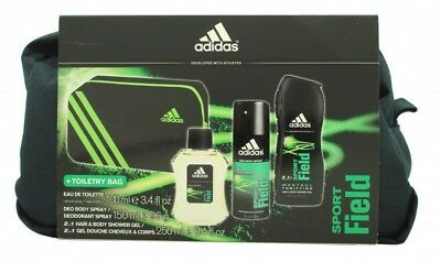 Adidas Sport Field Gift Set 100Ml Edt + 150Ml Body Spray + 250Ml S/g + Bag. New