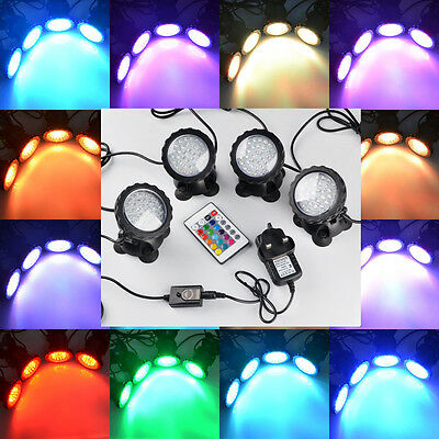 RGB Garden Fountain Pool Pond 36 LED SpotLight Underwater Submersible Lights