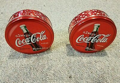 Set Of 2 Coca Cola Collectible Round Shaped Metal Tins