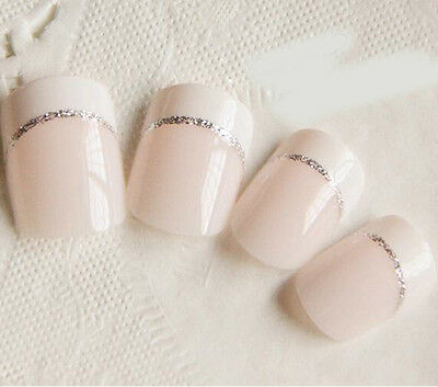 24 Pcs White Glitter Short French False Nails Full Simple Nail Art acrylic nails