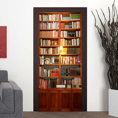 88cm UK Door Mural Bookcase Office Décor Home Decoration Self-Adhesive Stickers