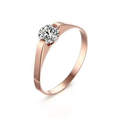 2mm Rose Gold CZ Wedding Band Women's Stainless Steel Engagement Ring Size 5/6/7