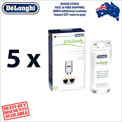 5 x Genuine DeLonghi Descaler for Coffee Machines - 100ml - EcoDecalk DLSC101