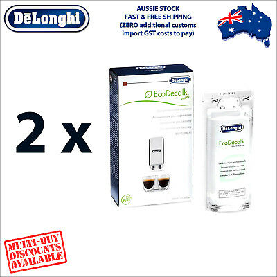 2 x Genuine DeLonghi Descaler for Coffee Machines - 100ml - EcoDecalk DLSC101
