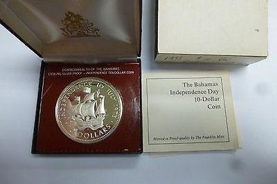 1973 Bahamas Independence $10 Ten Dollar Silver Proof Coin Franklin Mint #2