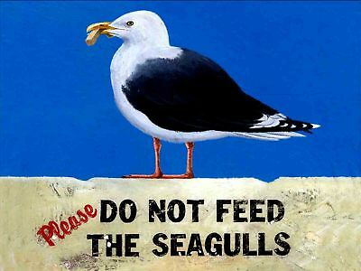RETRO METAL PLAQUE :Please do not feed the Seagulls sign/ad