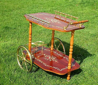 Bar Cocktail Tea Cart Trolley Italian Hollywood Regency Marquetry Retro Lovely