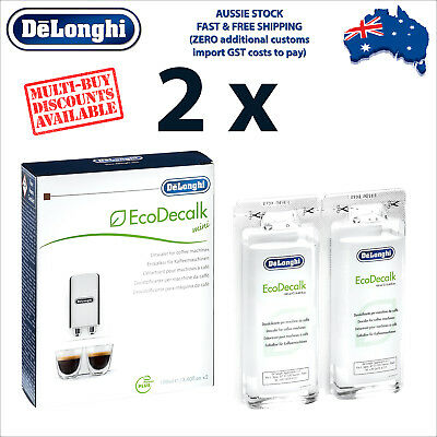 2 x Genuine DeLonghi Descaler for Coffee Machines - 200ml - EcoDecalk DLSC200