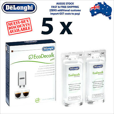 5 x Genuine DeLonghi Descaler for Coffee Machines - 200ml - EcoDecalk DLSC200