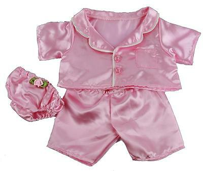 "PINK SATIN PJS PYJAMAS OUTFIT FOR 16""/40cm TEDDY BEARS & BUILD YOUR OWN BEARS"
