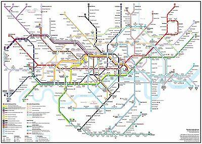Detailed London Underground Tube Map Giant Poster Print - A0 A1 A2 A3 A4 Sizes