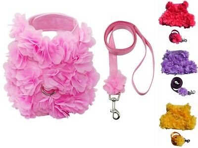 Pink Petal flower Dog harness Small Medium Large Lead Vest Bling Chihuahua style