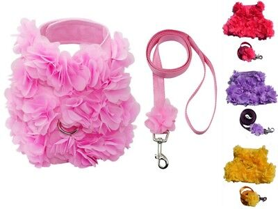 Pink Yellow or Purple Floral Dog harness And Matching Lead Set Xs small size
