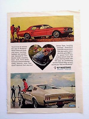 Vintage 1967 Ford Mustang Original Print Ad Automobile Car Bred First